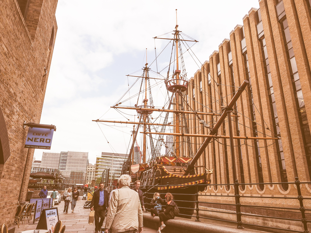 The Golden Hinde, the vessel of Sir Francis Drake.