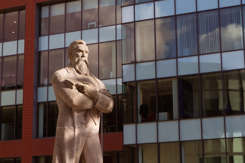 Engels, a leading figure in Marxism, in Manchester.